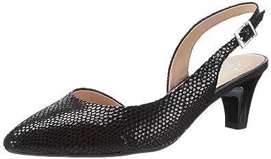 29603, Sandales Bout Ouvert Femme, Noir (Black Reptile), 38.5 EUCaprice
