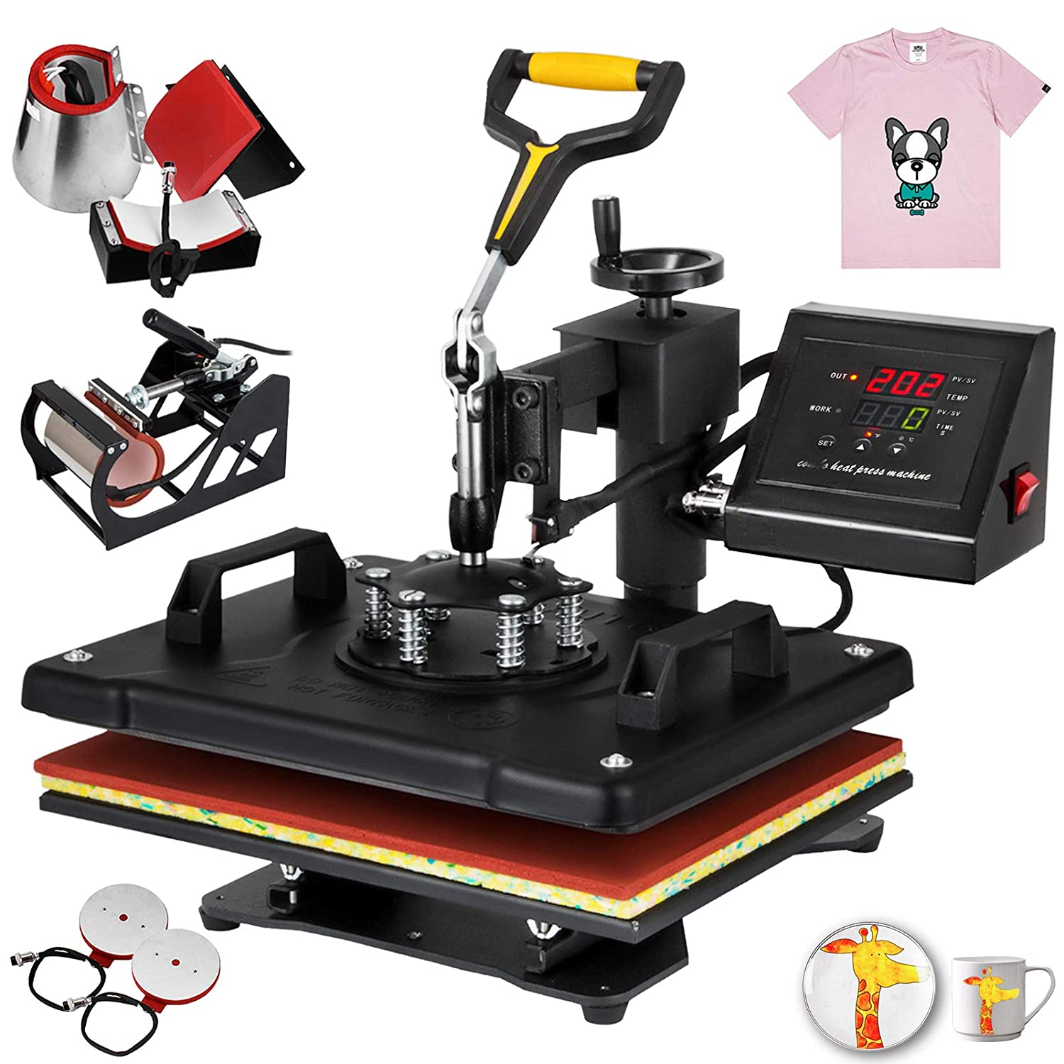 Free T-Shirts and Stickers Mophorn 12x10 Inch Heat Press 8 in 1 Swing Away Heat Press Machine Multifunction Heat Transfer Machine for Shirt Plate Mug Hat Cup