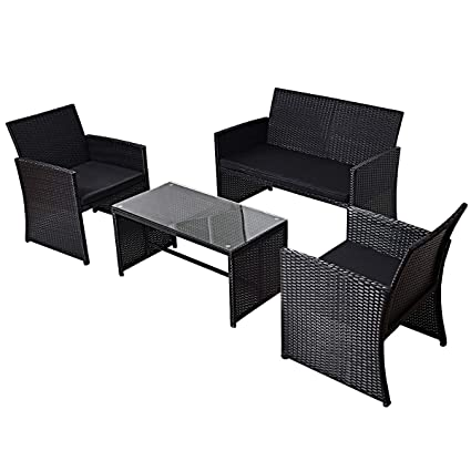 TANGKULA 4PCS Patio Furniture Set With Coffee Table, Chairs, Cushions U0026  Loveseat For Garden