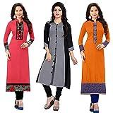 Ramdev Women's Cotton Semi-Stitched Combo Of 3 Kurti (Multicolor_Free Size)