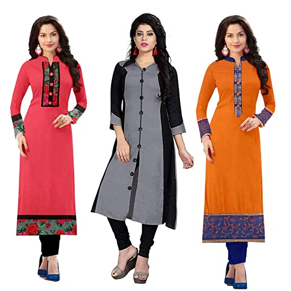 635e15a513 RAMDEV Women's Cotton Semi Stitched Kurti Pack of 3_Free Size: Amazon.in:  Clothing & Accessories