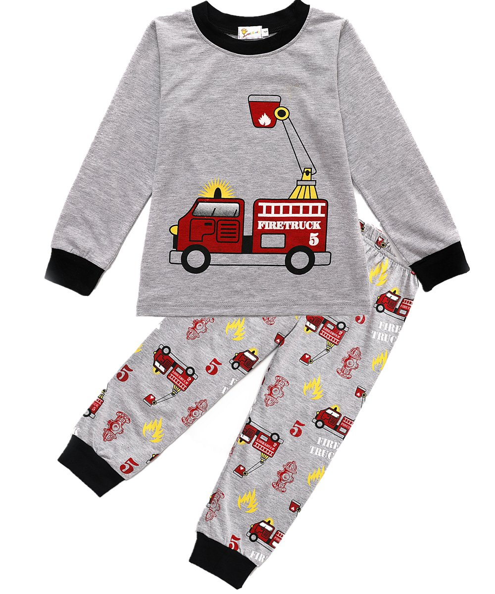 Boys Pajamas Fire Truck 100% Cotton Toddler Pjs 2 Piece Kids Sleepwear Clothes Set 2T-7T