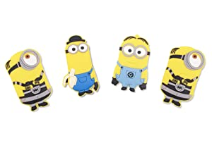 Finex - Set of 4 LARGE 3 inches - Yellow Minions Refrigerator Magnets Fridge Magnet Set for Locker