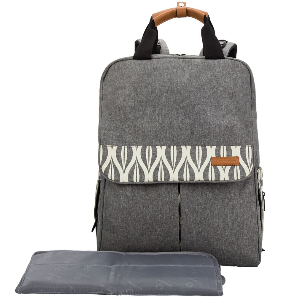 Lekebaby Diaper Bag Multi-Function Baby Diaper Backpack Including Changing Mat and Stroller Straps for Mom and Dad (grey)