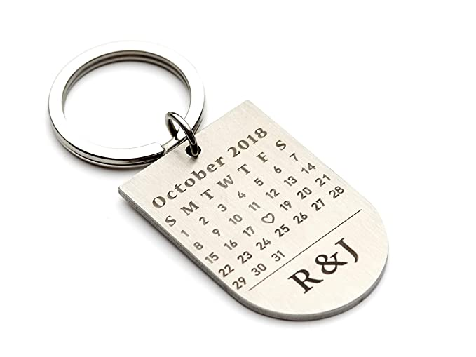 Engraved Calendar Keychain Anniversary Date Keychain Personalized Keychain  for Women Anniversary Gift for Couples 102b99a079