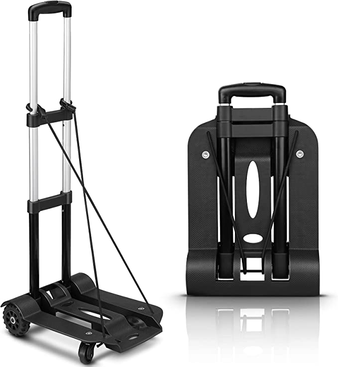 Amazon Com Folding Hand Truck 75 Kg 165 Lbs Heavy Duty Solid Construction Utility Cart Compact And Lightweight For Luggage Personal Travel Auto Moving And Office Use Portable Fold Up Dolly 4 Wheel Rotate