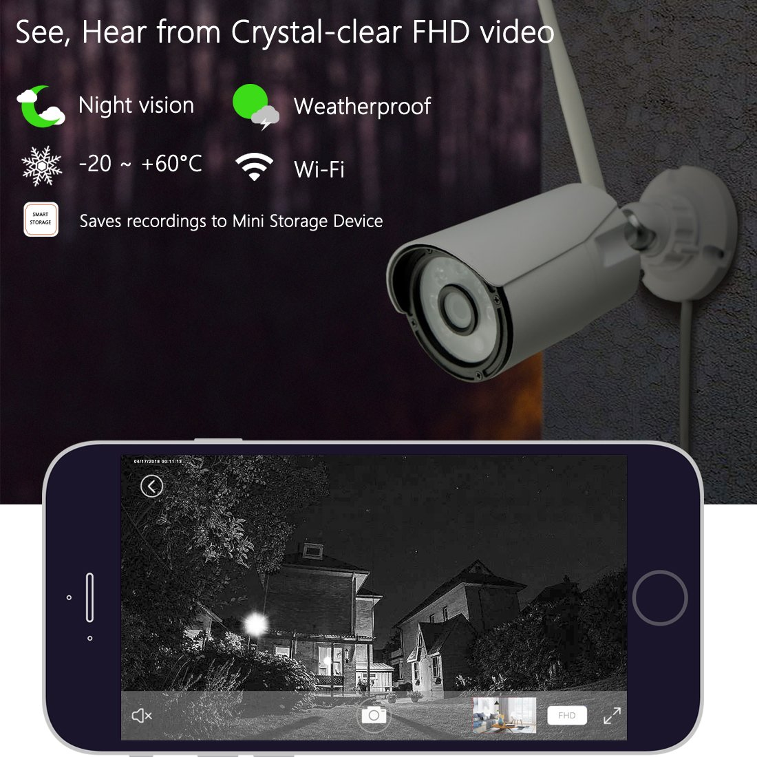 Titathink Mini Home Security Camera Surveillance System Plus 1 Wireless Full HD 1080P Waterproof Outdoor Bullet Security IP Camera with Night Vision, TT12C/N-1 by Titathink (Image #5)