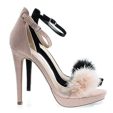 d948ecc2252 Madden33 Nude Fluffy Faux Fur High Heel Dress Sandal On Platform   Ankle  Strap -7