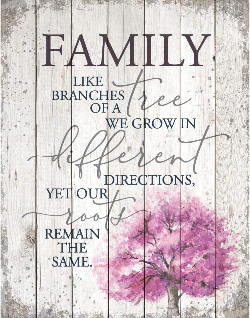 Family Wood Plaque Inspiring Quote 11.75 in x 15 in - Classy Vertical Frame Wall Hanging Decoration | Family Like Branches of a Tree | Christian Family Religious Home Decor Saying