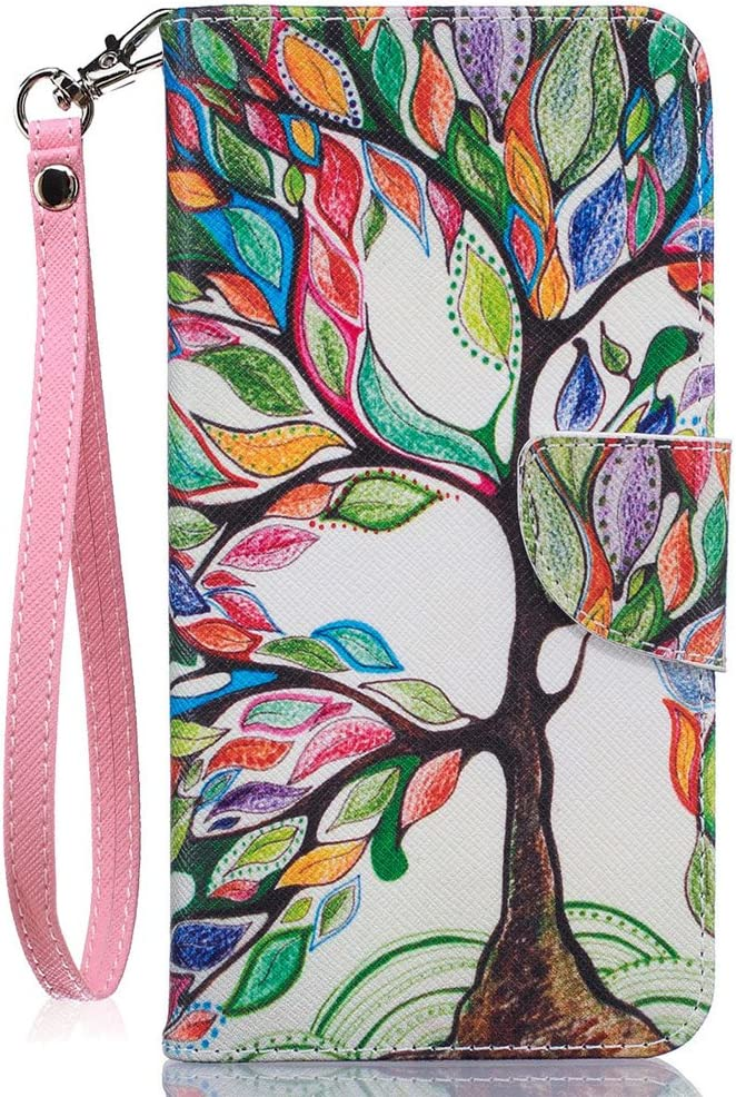 Compatible with iPhone 7 Plus Case,iPhone 8 Plus Wallet Case,JanCalm [Wrist Strap][Kickstand][Card/Cash Slots] Pattern Premium PU Leather Flip Cover for iPhone 7/8 Plus (5.5 Inch) + Crystal Pen(Tree)