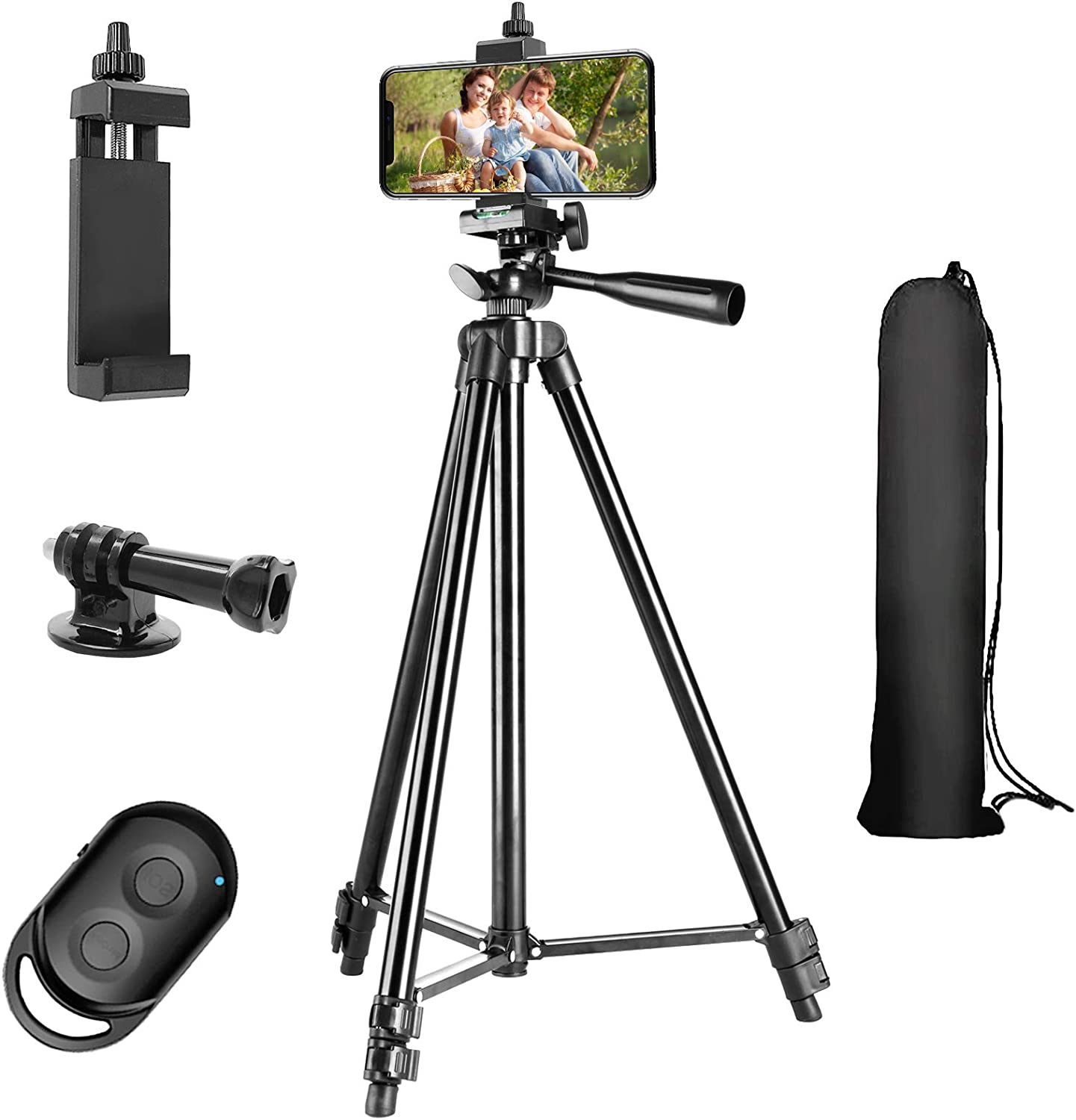 Phone Tripod, 51'' Extendable Lightweight Aluminum Phone Tripod Stand with Cell Phone Mount Holder & Wireless Remote, Tripod for iPhone/Android/Smartphone & Camera (Black)