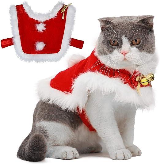 LLYU Ropa navideña para Gatos, Ropa de Santa Claus con Campanas Ropa navideña para Perros y Gatos Dulce Regalo: Amazon.es: Productos para mascotas