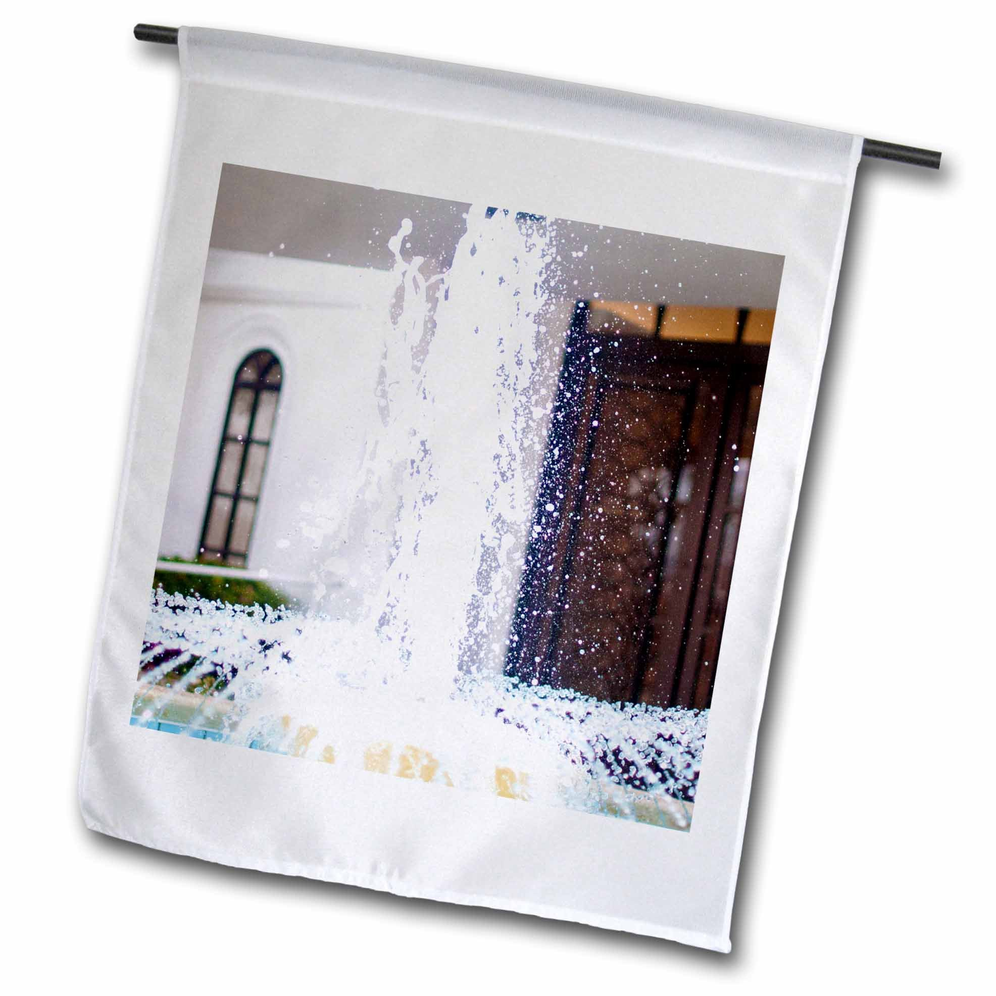 3dRose Jos Fauxtographee- Temple Fountain - The entrance of the ST. George Utah Temple with the fountain - 18 x 27 inch Garden Flag (fl_263359_2)