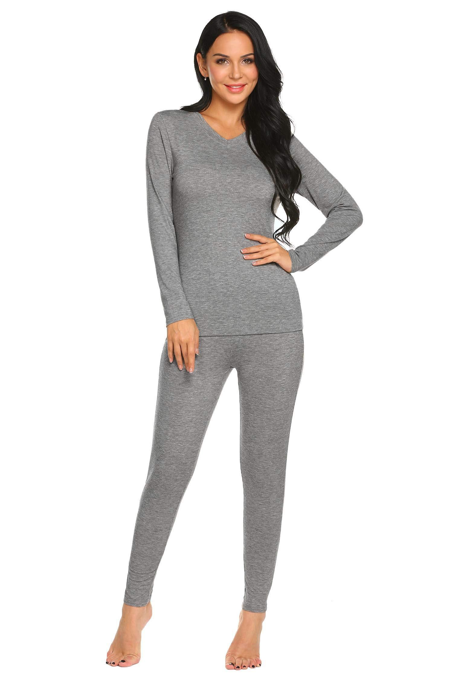 Ekouaer Thermal Sets V Neck Pajamas Sleepwear Top with Pants Long Sleeve Pj Set