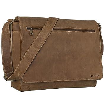 e34863b7b8687 STILORD  Phil  Vintage Leder Umhängetasche für Herren und Damen Laptoptasche  Unitasche Aktentasche Bürotasche Tasche