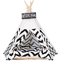 PULUSI Pet Teepee Dog(Puppy) & Cat Bed - Portable Pet Tents & Houses 20 inch for Dog(Puppy) & Cat Beige Color with Cushion