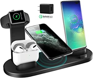 Wireless Charger, QI-EU 3 in 1 Qi-Certified Fast Charging Station for iWatch AirPods Pro, Wireless Charging Stand Compatible for iPhone 11/11Pro/11Pro Max/XR/Xs/Xs Max/X/8/8Plus Samsung Galaxy S20/S10