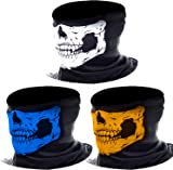 3 Pack Seamless Skull Face Tube Mask Motorcycle Face Mask Outdoor Mask Sport Headwear