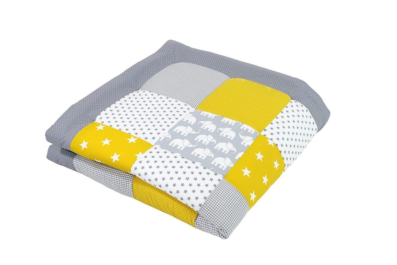 ULLENBOOM ® Tapis d'Éveil et Matelas pour Parc Bébé Éléphant Jaune (100x100 cm Tapis sol bébé patchwork, Motifs pois, étoiles, vichy) EG100