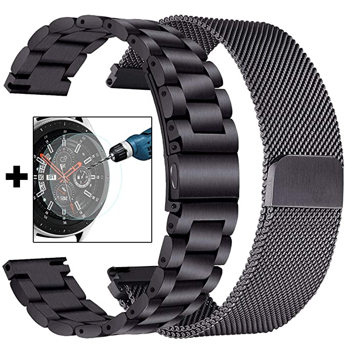 CAGOS Galaxy Watch 46mm/Ticwatch Pro Bands, Stainless Steel Metal + Milanese Loop Mesh Strap Replacement Band for Samsung Galaxy Watch 46mm/Gear S3 ...