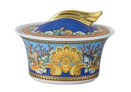 Versace Les Trésors De La Mer Azucarero, Porcelana, Azul, 16x16x9.7 cm