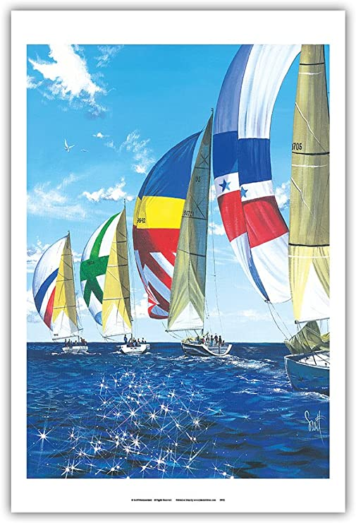 Amazon Com Diamond Regata Regatta Sailboats Racing From An Original Color Painting By Scott Westmoreland Master Art Print 12in X 18in Posters Prints