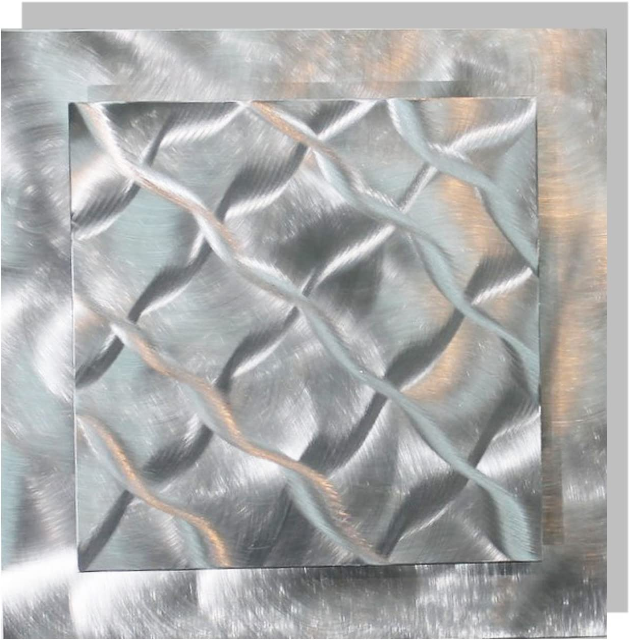 Statements2000 Eye-Catching Natural Silver with Woven Wave-Like Abstract Etchings - Modern Hand-Made Metal Wall Accent - Home Decor, Contemporary Metallic Wall Art - Prizm 1 by Jon Allen