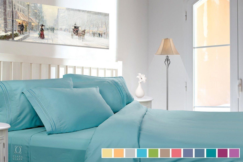 Elco Collection Premier 1800 Collection Bed Sheet Sets (RV Short Queen, Light Blue Aqua)