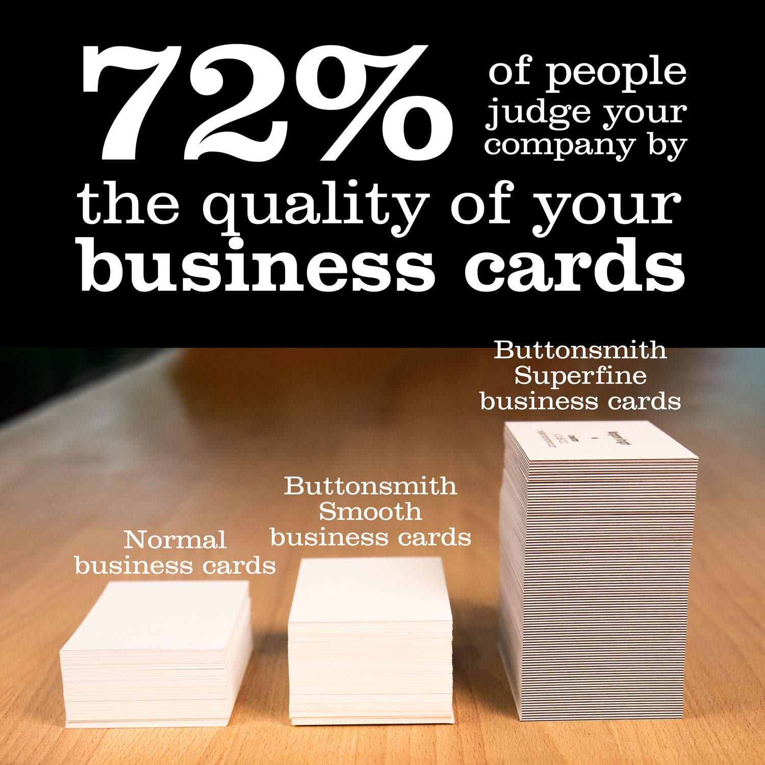 Buttonsmith Custom Ultra Thick Printed Business Cards - 3.5''x2'' - Quantity 500 - Double-Sided, 32 pt Smooth Touch - Made in The USA by Buttonsmith (Image #4)
