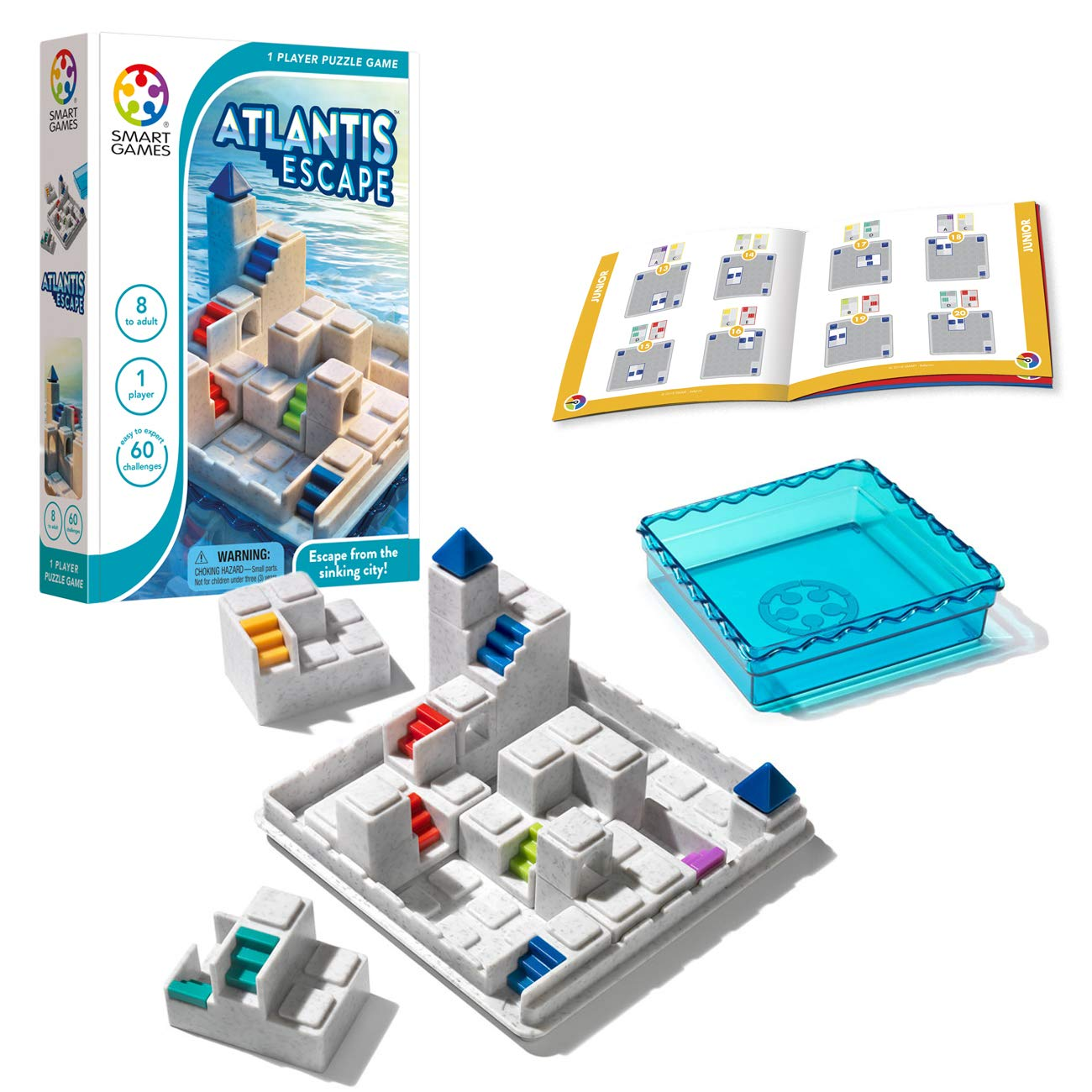 SmartGames Atlantis Escape; a 3D Path-Building Travel Game for Kids and Adults, a STEM Focused Cognitive Skill-Building Brain Game - Brain Teaser for Ages 8 & Up, 60 Challenges. by SmartGames