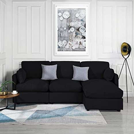 Remarkable Black Upholstered Linen Sectional Sofa Couch Modern L Shape Sectional Sectional Sofas And Couches Sofa Couch With Chaise For Small Large Living Inzonedesignstudio Interior Chair Design Inzonedesignstudiocom