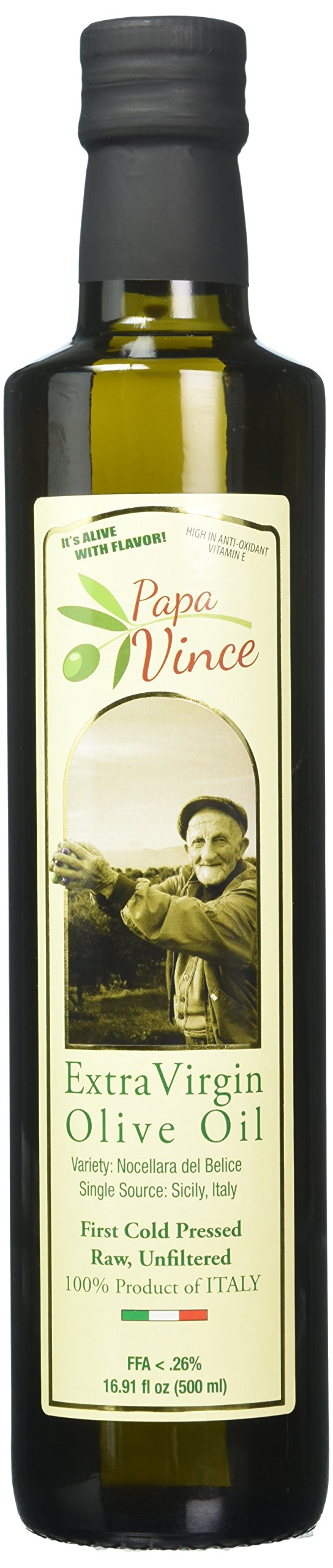 Papa Vince Olive Oil Extra Virgin - First Cold Pressed 2017/18, Sicily, Italy, Unblended, Unfiltered, Unrefined, Robust, Rich in Antioxidant | Single Estate from our family in Sicily - 16.9 fl oz