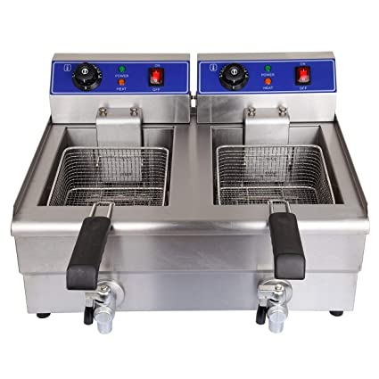 PanelTech 3600W 20L Electric Faucet Deep Fryer Commercial Stainless Steel  Countertop Double Dual Tank With Drain