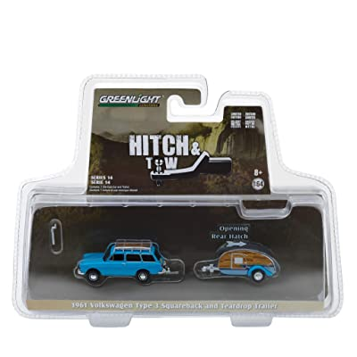 New DIECAST Toys CAR Greenlight 1:64 Hitch & Tow Series 14 - Volkswagen Type 3 SQUAREBACK with Tear Drop Trailer Blue 32140-A: Toys & Games