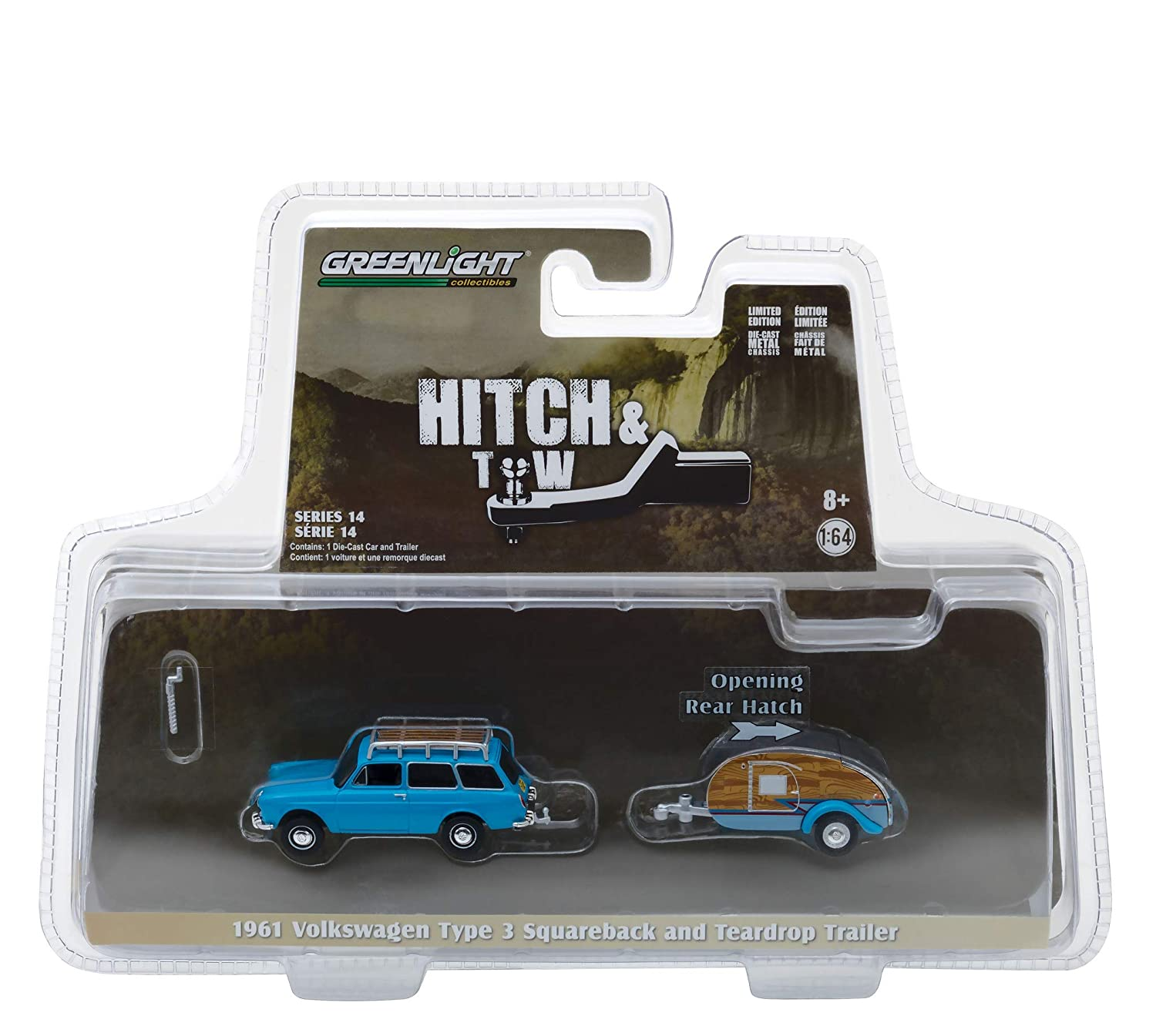 1961 Volkswagen Type 3 Squareback Blue with Tear Drop Trailer Hitch Tow Series 14 1 64 Diecast Models by Greenlight 32140 A