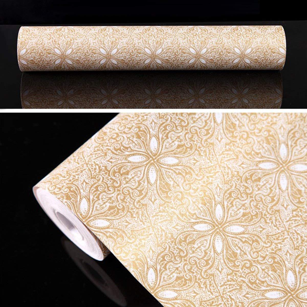 45 x 500cm Motif Fleur,Dor/é Or Life Tree Papier Peint Adh/ésif 3D Trompe /Œil Auto-Collant Adh/ésif D/écoratif Wallpaper Sticker Repositionnable