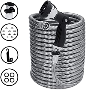 Morvat 100 Foot Stainless Steel Garden Hose with Shut-Off Valve, Metal Water Hose 100ft, Resistant to Tangles and Punctures, Heavy Duty Garden Hose 100 Ft Includes: Spray Nozzle + Metal Hose Hanger