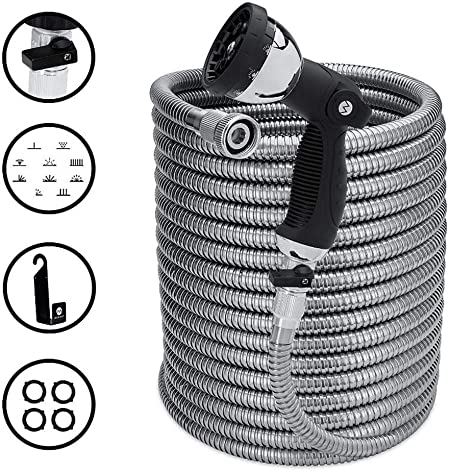 Amazon Com Morvat 100 Foot Stainless Steel Garden Hose With Shut