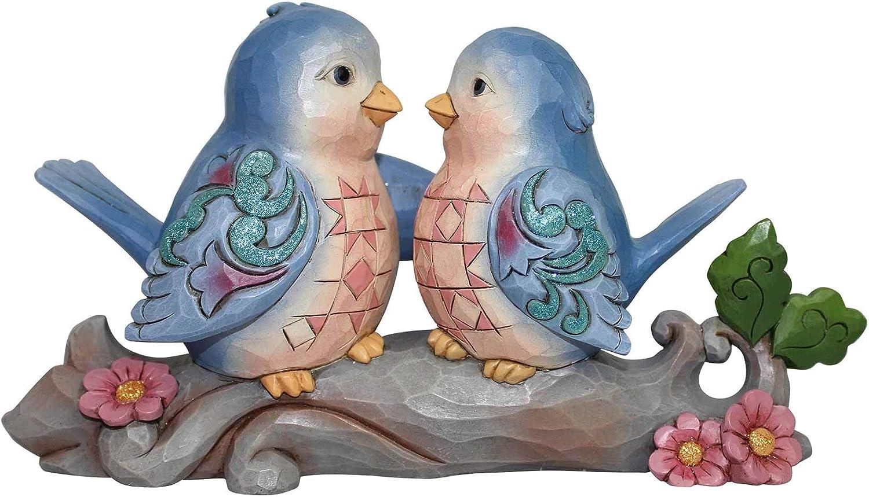 Enesco Jim Shore Heartwood Creek Bluebirds on Branch Figurine, 4.2 Inch, Multicolor