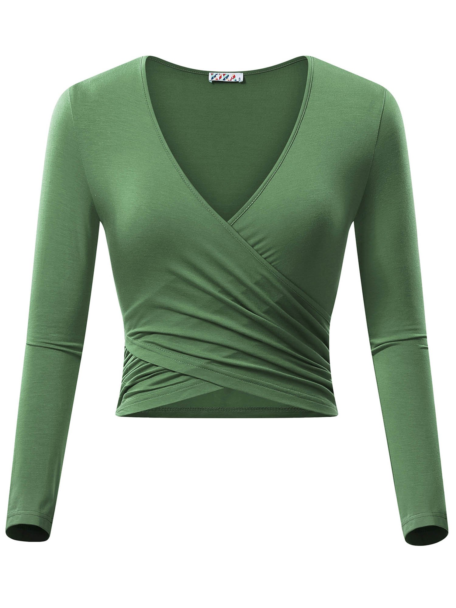 KIRA Women's Deep V Neck Long Sleeve Unique Cross Wrap Slim Fit Crop Tops(M,Army Green)