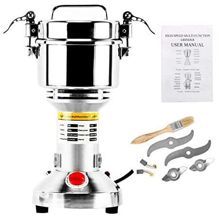 Homend High Speed 500g Electric Grain Mill Grinder Powder Machine Spice Herb Grinder 2500W 70-300 Mesh 36000RPM Stainless Steel Commercial Grade for Kitchen Herb Spice Pepper Coffee 500g