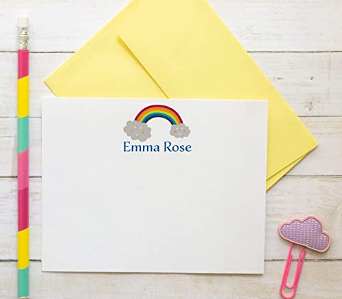 Family Note Cards and Envelopes Stationery Set Personalized with Family and Individual Names in Bright Rainbow Colors Set of 10