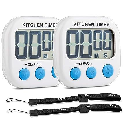 ... Magnético Temporizador con Cuenta Atrás, Alarma Ruidosa y Pantalla LCD Grande para Cocinar Hornear Deportes Juegos Oficina (Baterías No Incluidas): ...