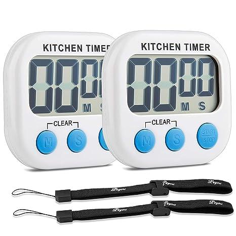 PEYOU Temporizador de Cocina Digital [2 Piezas], Magnético Temporizador con Cuenta Atrás,