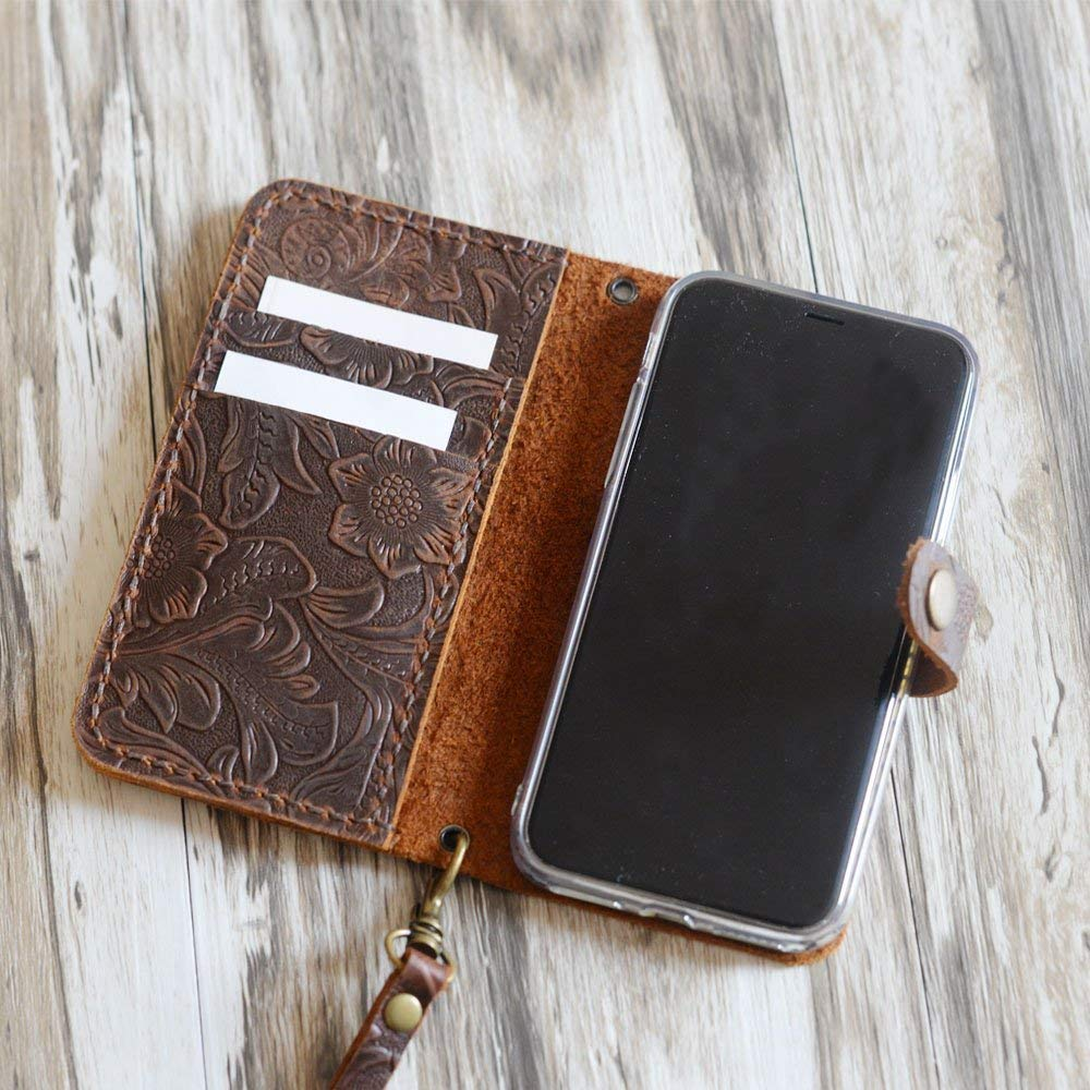 Leather iPhone X wallet case Handmade Wristlet iPhone X or XS Cover Tooled Flower Brown 408H-4