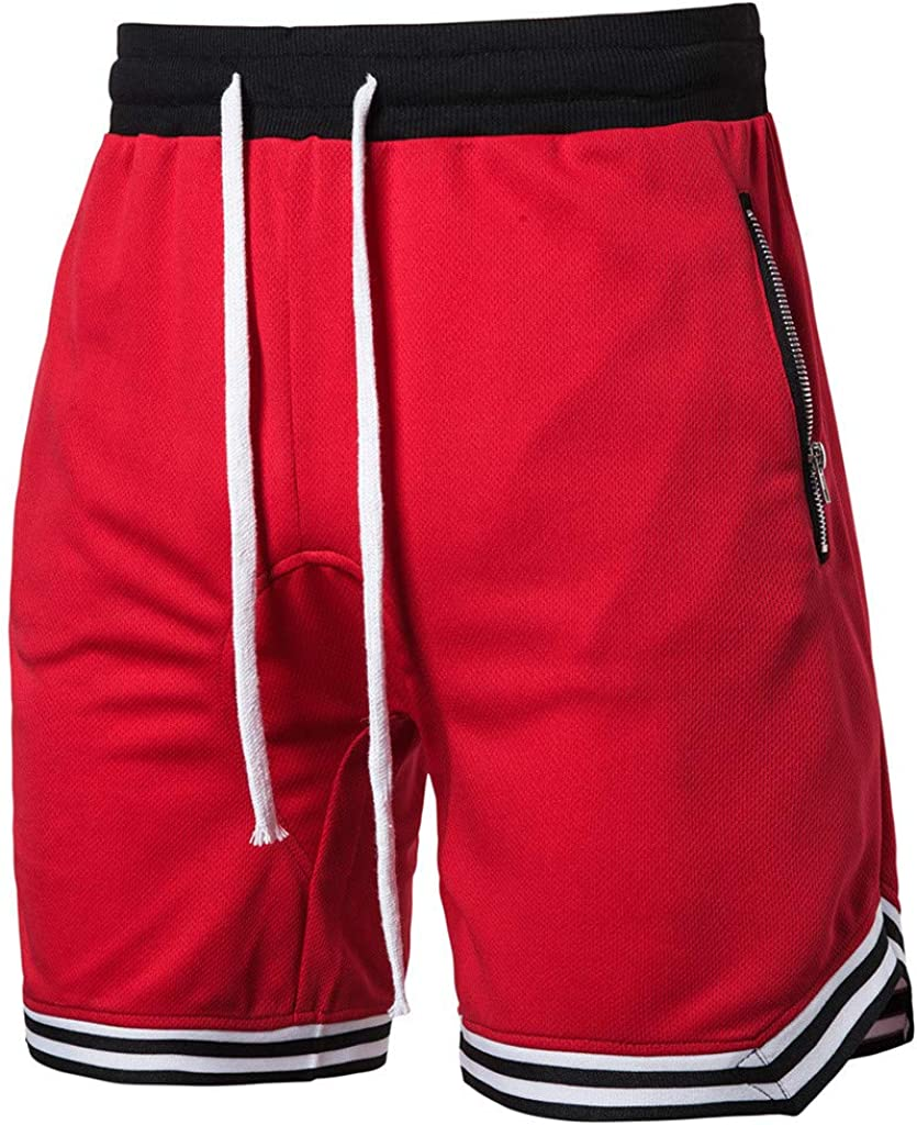 DIOMOR Athletic Shorts for Men Mesh Pure Color Quick Dry Trunks Gym Workout Basketball Zipper Pockets Drawstring Pants