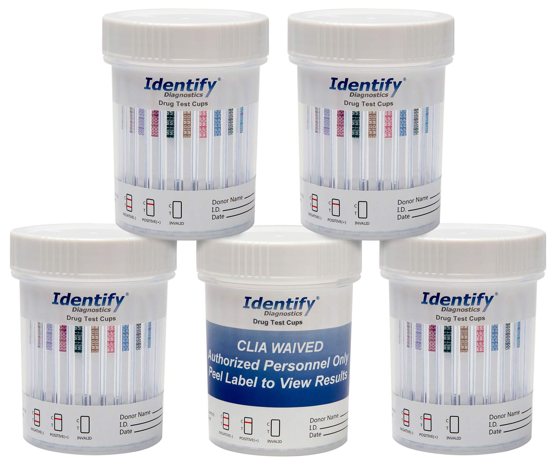 10 Pack Identify Diagnostics 10 Panel Drug Test Cup Testing Instantly for 10 Different Drugs: (THC), (COC), (OXY), (MOP), (AMP), (BAR), (BZO), (MET), (MTD), (PCP) #ID-CP10-AZ by Identify Diagnostics (Image #1)