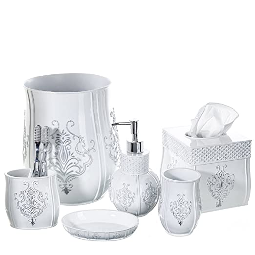 Amazon.com: Vintage White Bathroom Accessories, 4 Piece Bathroom Accessories  Set, Bathroom Set Features French Fleur De Lis Motifs, Soap Dispenser, ...
