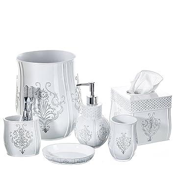 Beau Creative Scents Vintage White Bathroom Accessories Set, 6 Piece Bath Set  Collection Features Soap Dispenser