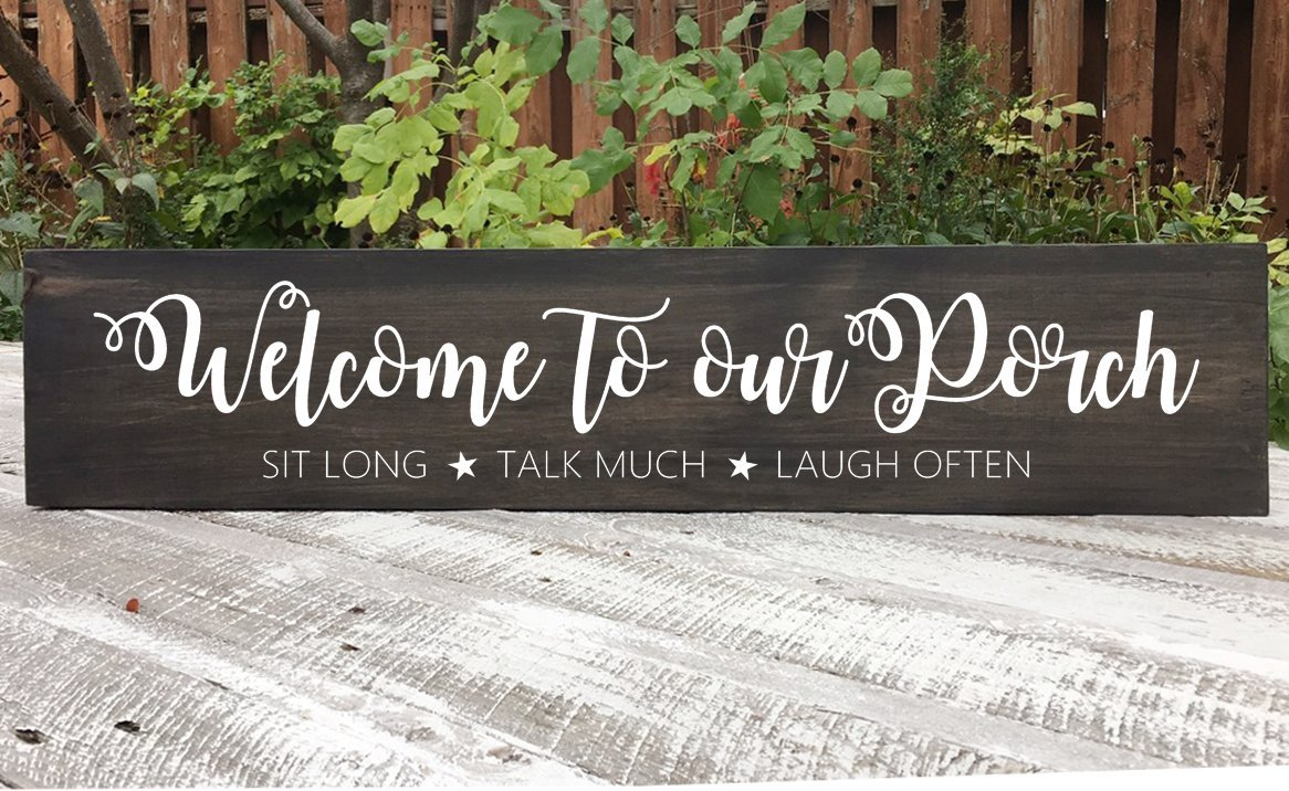 MaxwellYule Welcome to Our Deck Sit Long Talk Much Laugh Often Sign Farmhouse Sign Wood Sign for Signs